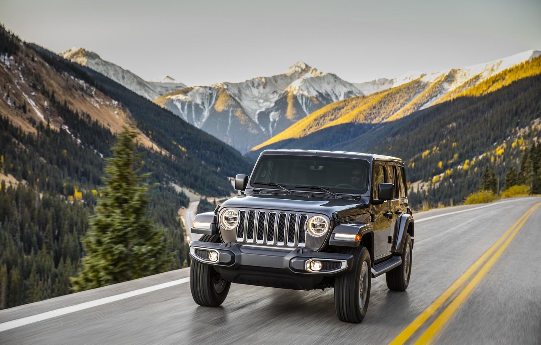 Photo wallpaper road, forest, trees, mountains, movement, markup, 2018, Jeep, dark gray, Wrangler Sahara
