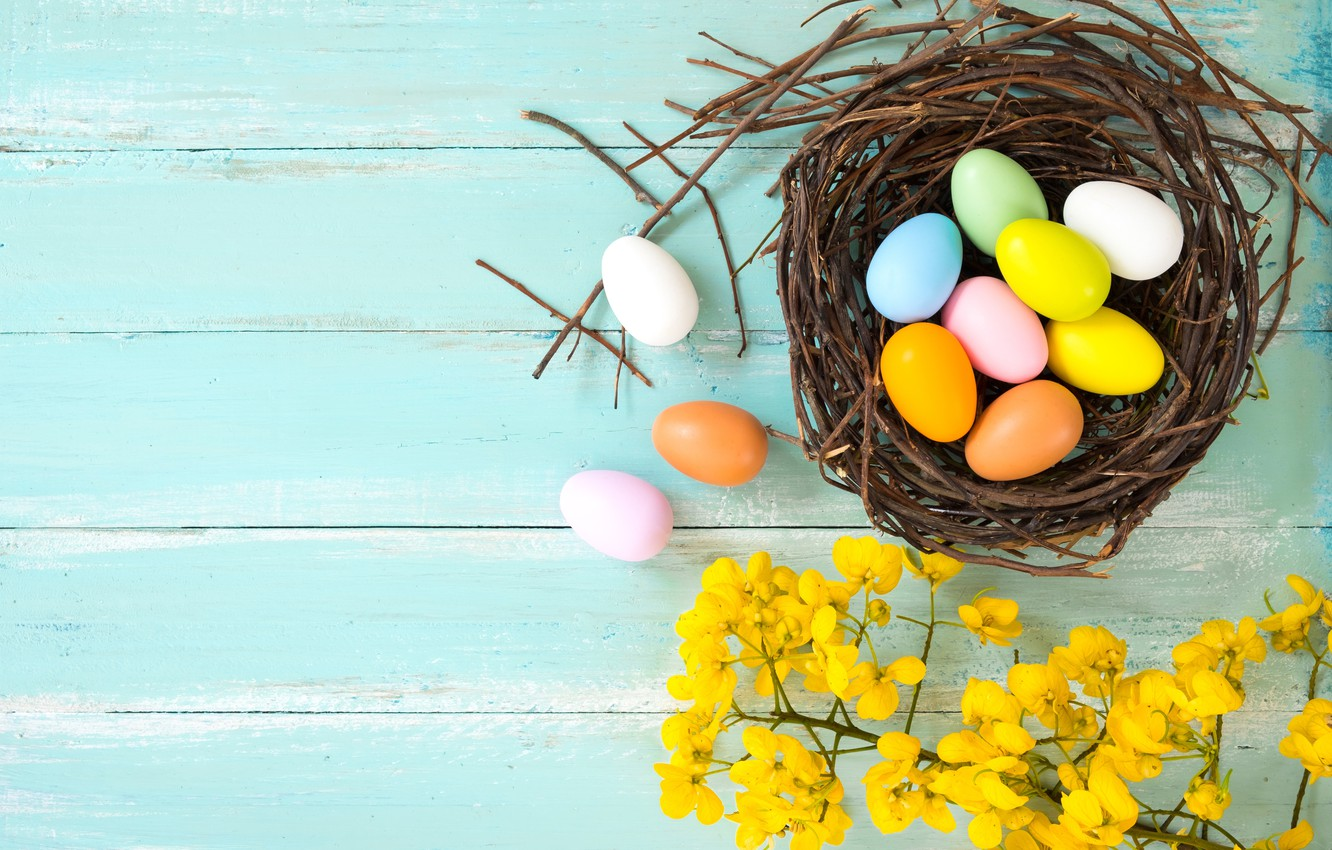 Photo wallpaper flowers, basket, eggs, spring, colorful, Easter, wood, pink, flowers, tulips, spring, Easter, eggs, decoration, Happy, …