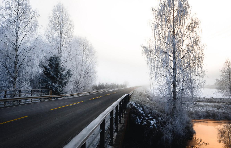 Photo wallpaper winter, road, fog, morning