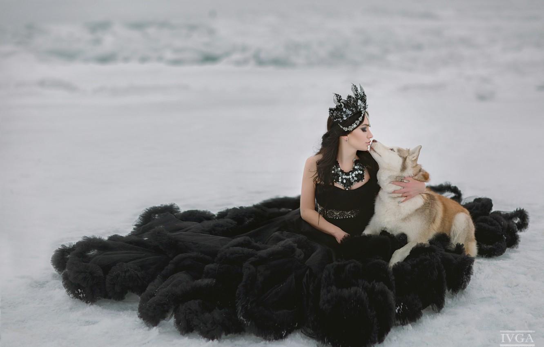 Photo wallpaper girl, snow, kiss, dog, dress
