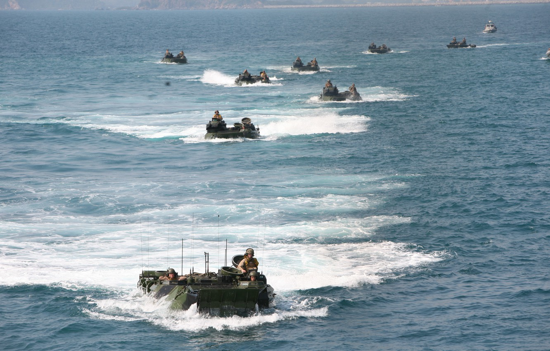Photo wallpaper beach, training, amphibious vehicle, amphibious, dressage, armored vehicles, amphibious landing, sea soldiers