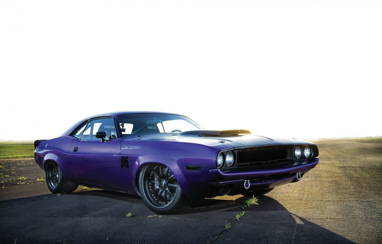 Photo wallpaper Dodge, Challenger, Purple, 1970, Custom, Race Muscle Car