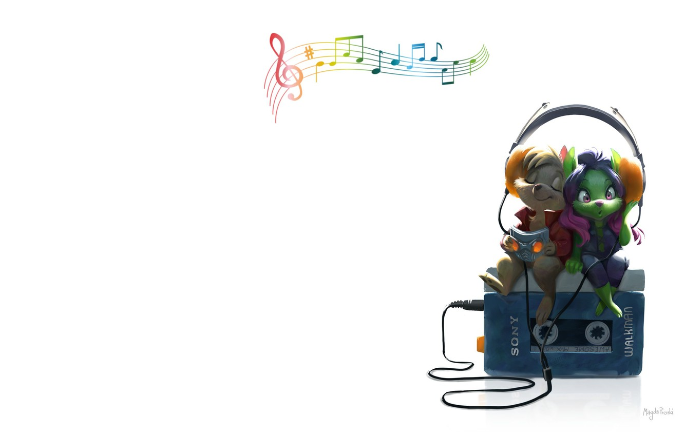 Photo wallpaper music, headphones, art, player, two, Magda proski, Fooled around and fell in love