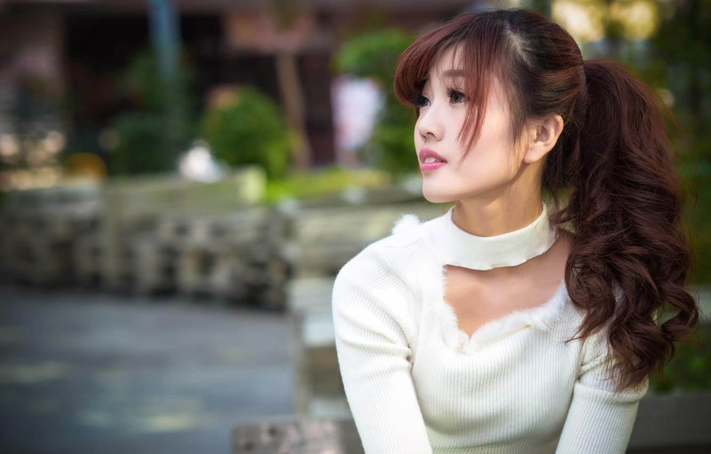 Photo wallpaper girl, hair, Asian