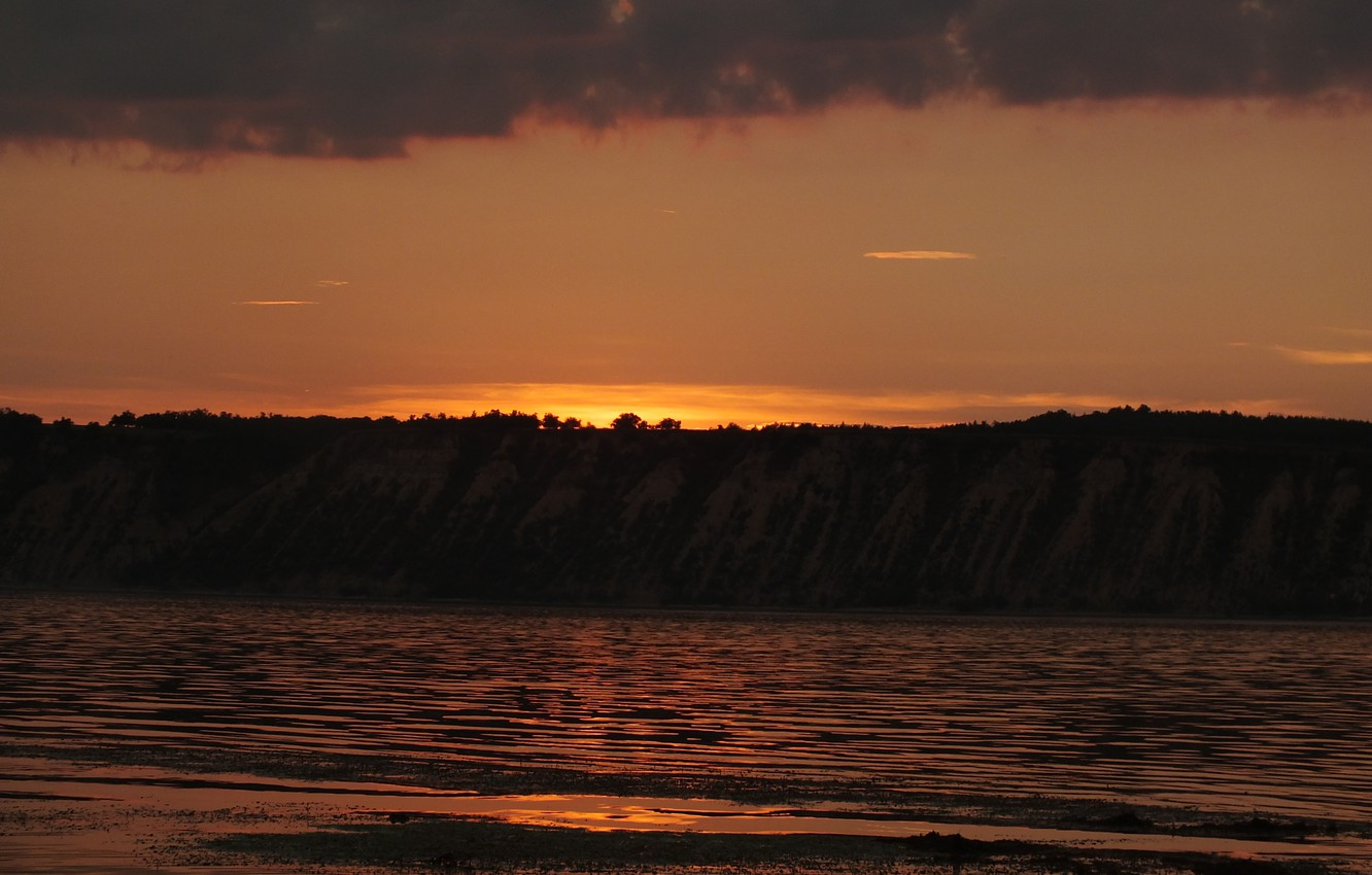Photo wallpaper water, clouds, sunset, mountains, clouds, river, Volga