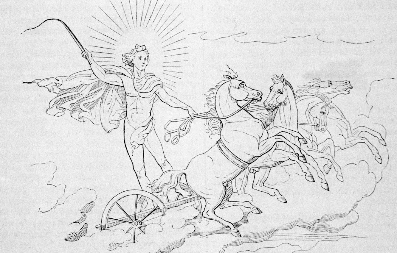 Photo wallpaper the sun, chariot, horse, horse riding, helios