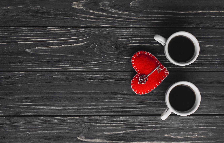 Photo wallpaper love, heart, coffee, Cup, love, heart, wood, cup, key, romantic, coffee, valentine