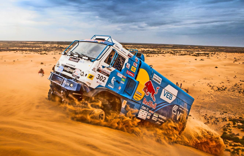 Photo wallpaper Sand, Sport, Machine, Truck, Race, Master, Day, Kamaz, Rally, Dakar, Dakar, KAMAZ, Master, Dune, GAA