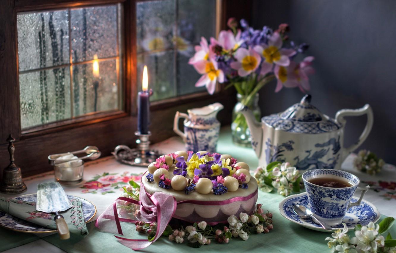 Photo wallpaper tea, candle, bouquet, window, cake, Apple