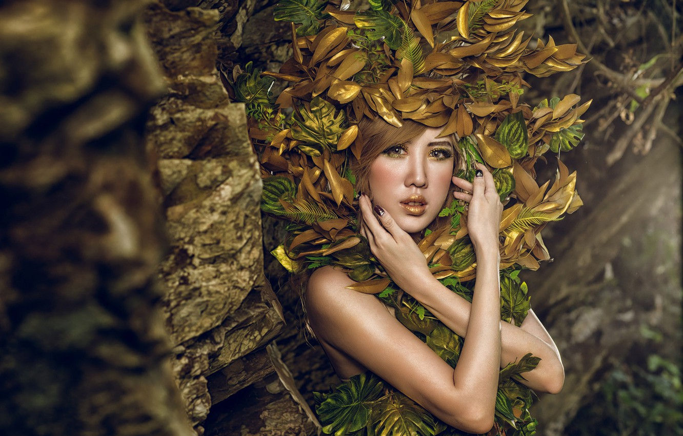 Photo wallpaper look, leaves, girl, style, model, hands, makeup, Asian