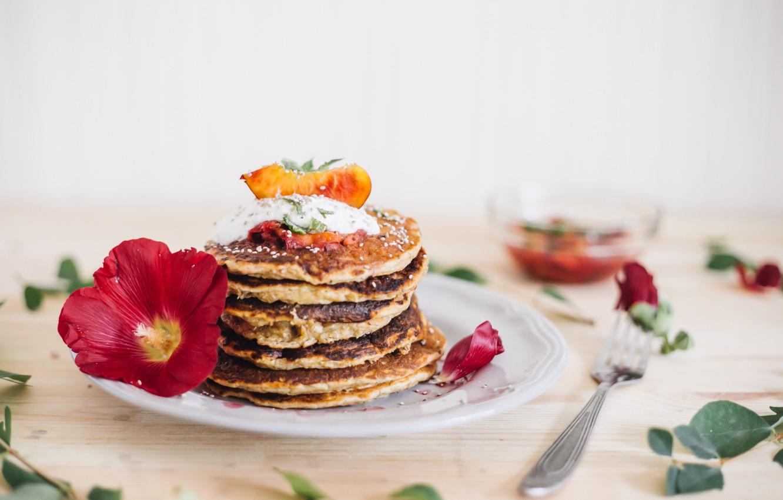 Photo wallpaper Breakfast, wood, cakes, sour cream, pancakes