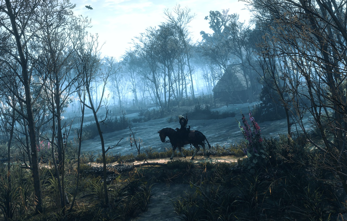 Photo wallpaper forest, trees, house, horse, The Witcher, Geralt, The Witcher 3: Wild Hunt, roach
