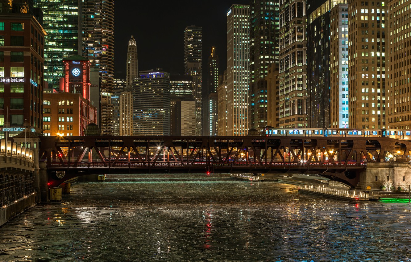 Photo wallpaper winter, night, bridge, lights, river, train, home, ice, Chicago, lights, USA