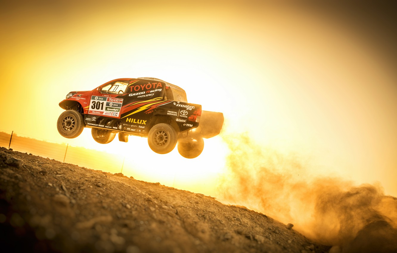 Photo wallpaper Sunset, Auto, Sport, Machine, Speed, Race, Toyota, Hilux, Rally, SUV, Rally, Sport, Toyota, Hilux, The …