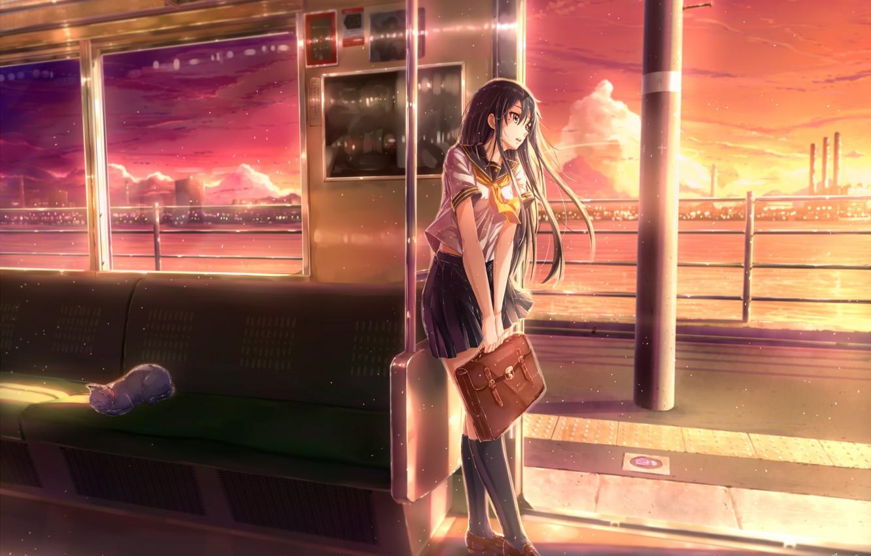 Photo wallpaper river, metro, Japan, the car, schoolgirl, knee, portfolio, art, seat, red sky, city lights, white …