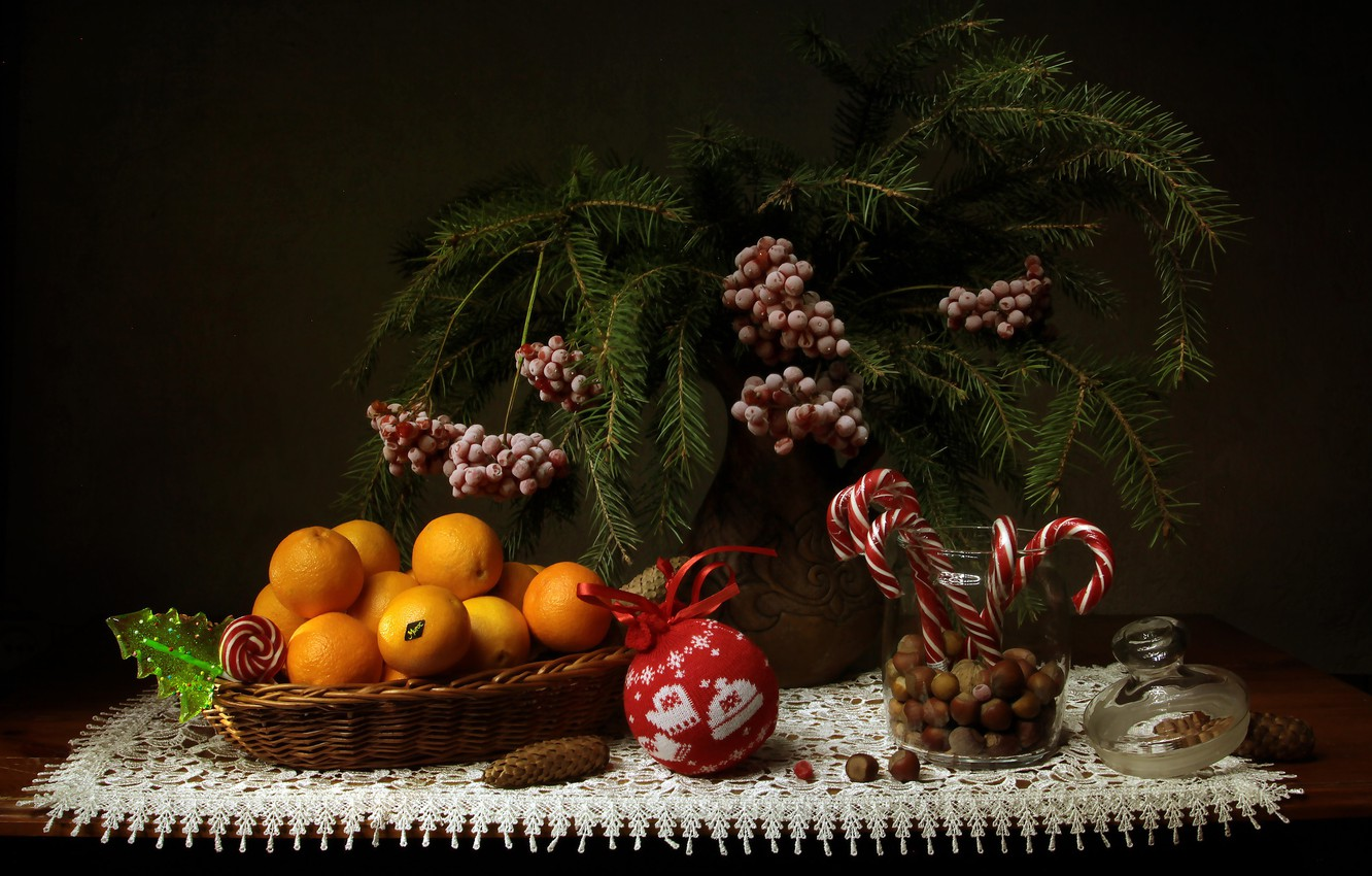 Photo wallpaper branches, berries, toy, new year, ball, Christmas, spruce, candy, Bank, vase, fruit, nuts, still life, ...