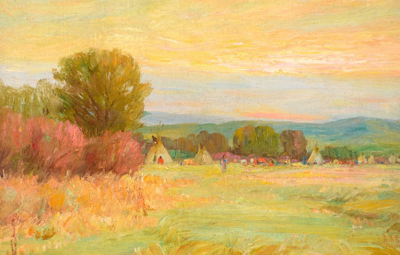 Photo wallpaper Sunrise, Joseph Henry Sharp, Crow Reservation