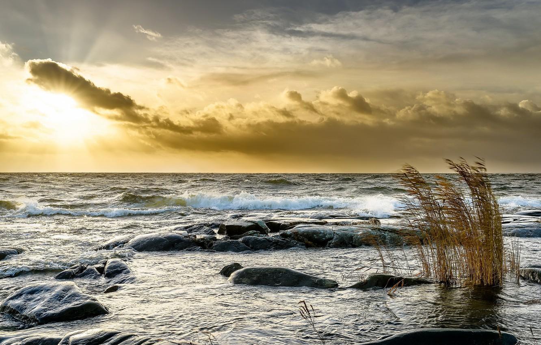 Photo wallpaper sea, light, sunset, shore