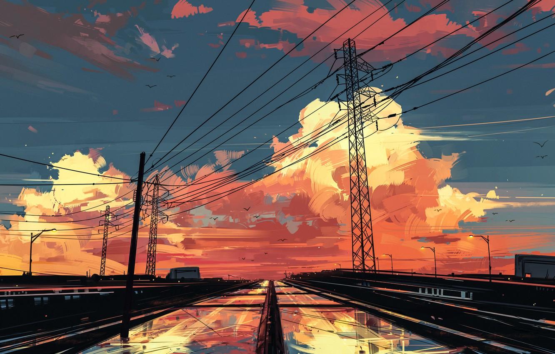 Photo wallpaper birds, wire, track, the evening, Power lines, lights, twilight, wet asphalt, art, pink clouds, Aenami, …