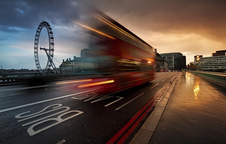 Photo wallpaper the city, street, England, London, excerpt, UK, bus