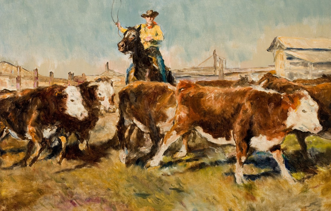 Photo wallpaper cows, cowboy, Genre painting, PAL Fried, In the barnyard
