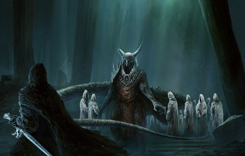 Photo wallpaper forest, roots, horns, sword, demons, undead, Digital Art, ChrisCold, Sci-fi