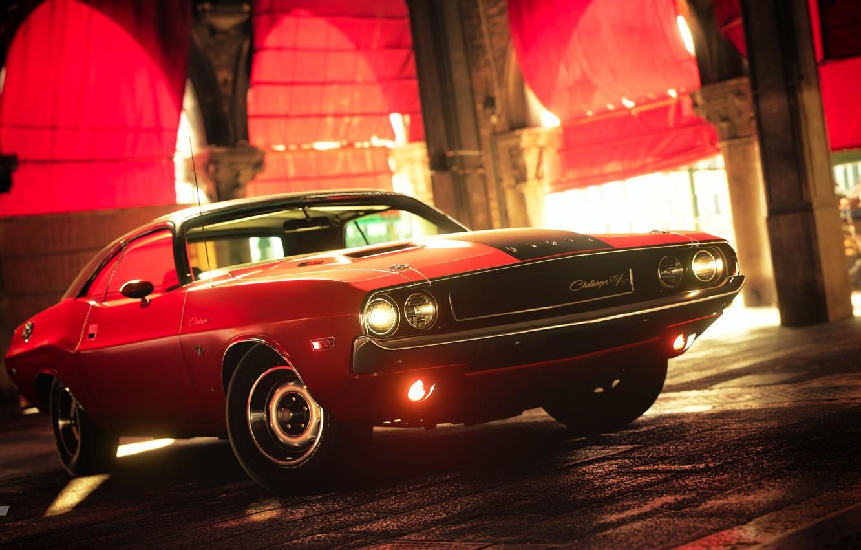 Photo wallpaper red, street, Challenger, Dodge Challenger R/T
