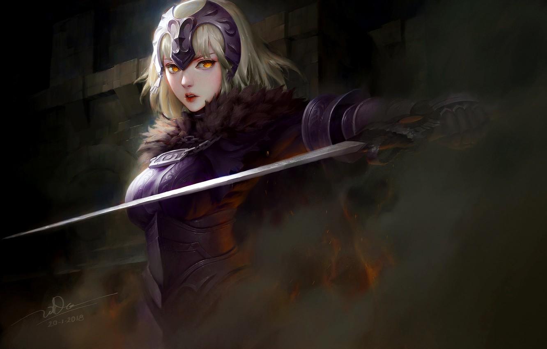 Photo wallpaper girl, sword, fantasy, armor, weapon, anime, blonde, digital art, warrior, fantasy art, yellow eyes, pearls, …