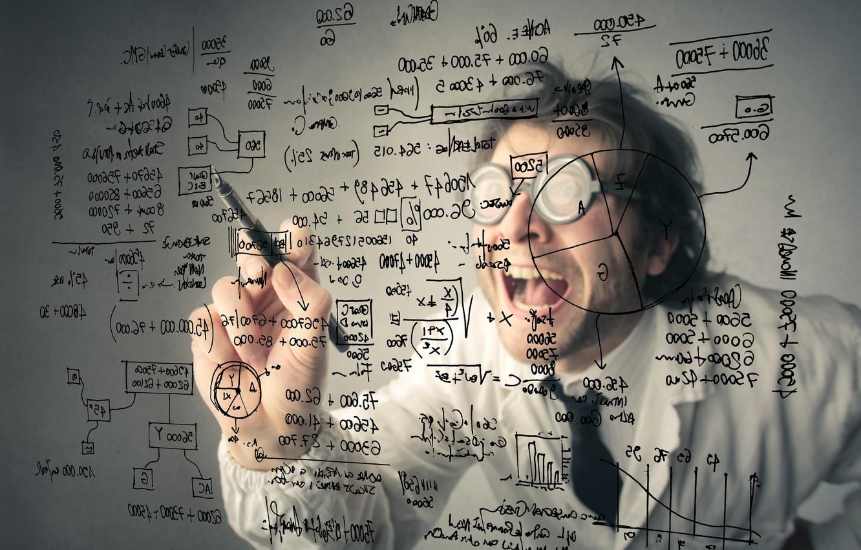 Photo wallpaper man, crazy, maths