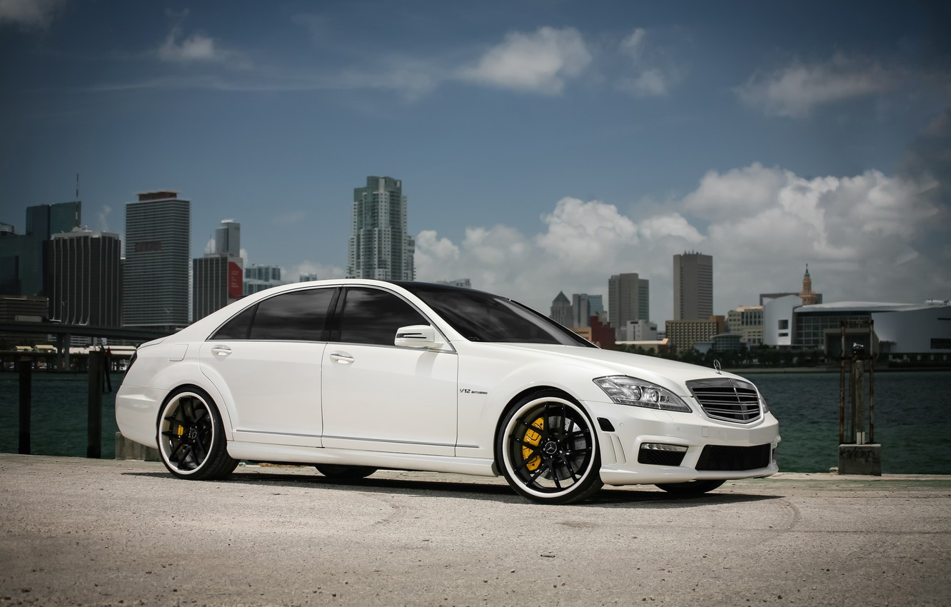 Photo wallpaper lights, Mercedes, black, AMG, with, S65, roof, painted, smoked