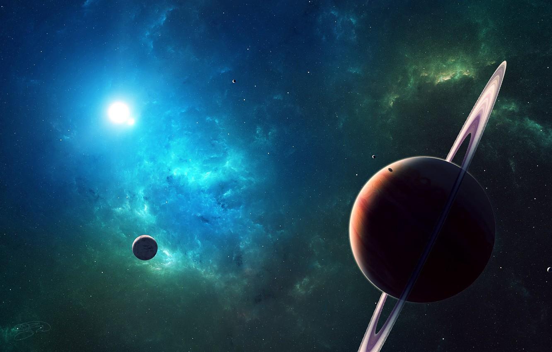 Photo wallpaper space, Planets, nebula, stars, cosmos, galaxy, digital art, artwork, rings, planetary rings