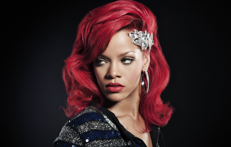 Photo wallpaper portrait, Rihanna, red hair