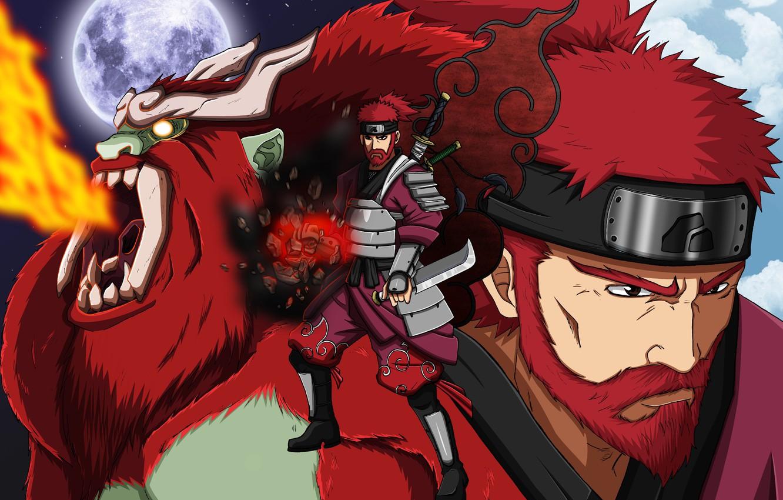 Photo wallpaper red, moon, sword, armor, red hair, anime, ken, redhead, blade, fang, ninja, shinobi, japanese, Naruto …