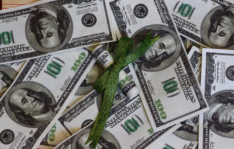 Photo wallpaper money, texture, dollars, bow