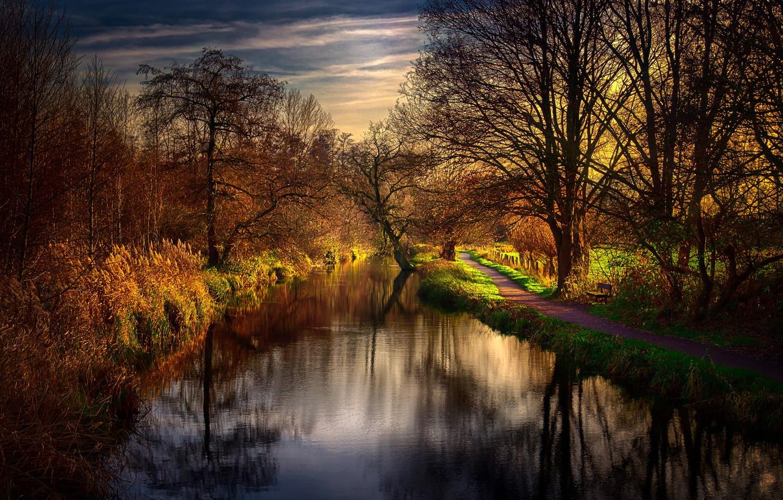 Photo wallpaper nature, river, morning