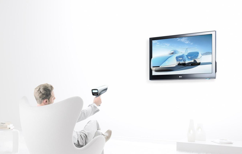 Photo wallpaper creative, chair, TV, male, Christopher Gilbert