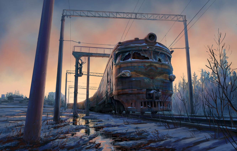 Photo wallpaper snow, train, art, rail