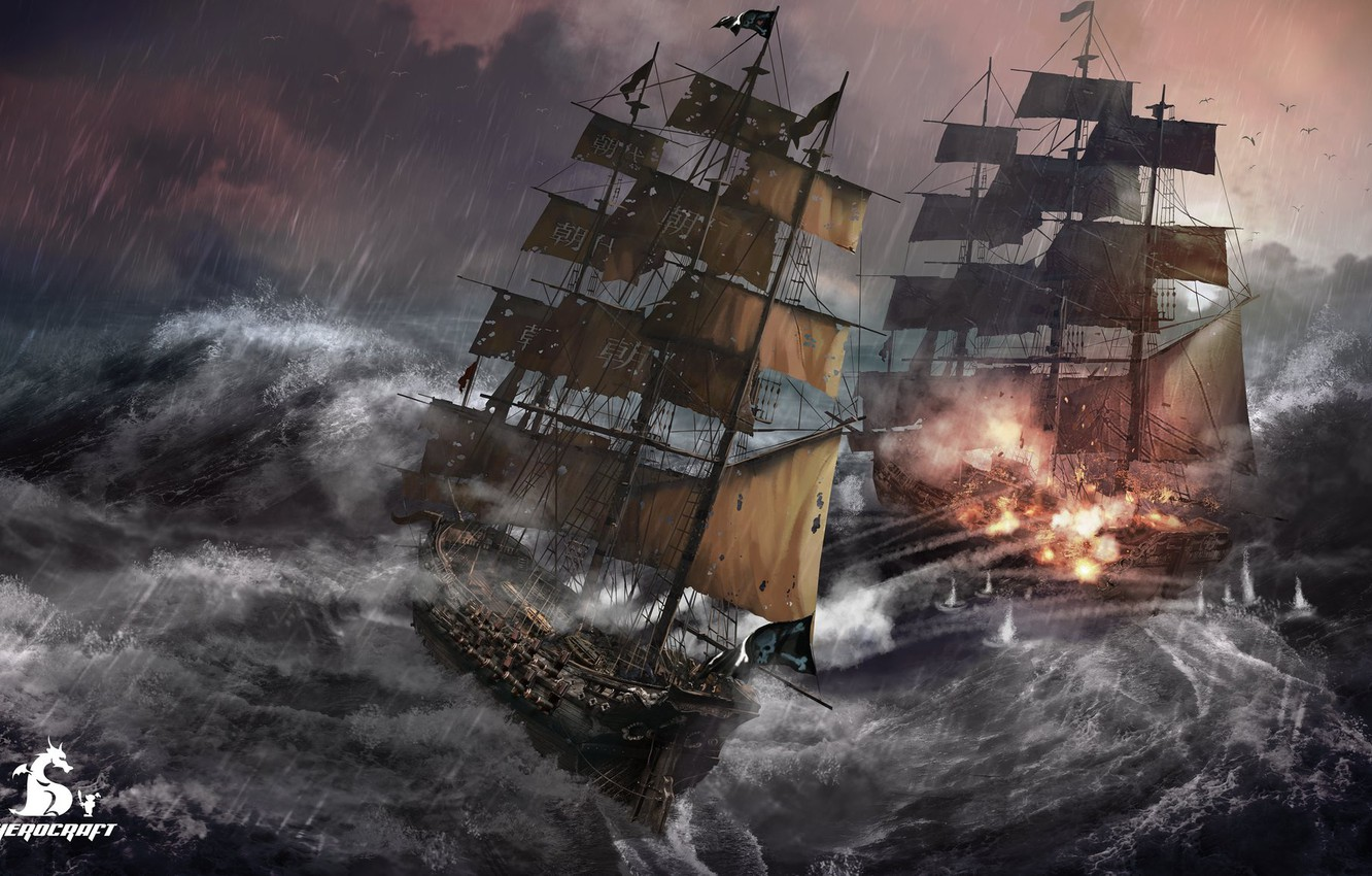 Photo wallpaper wave, storm, ships, The Tempest, Herocraft