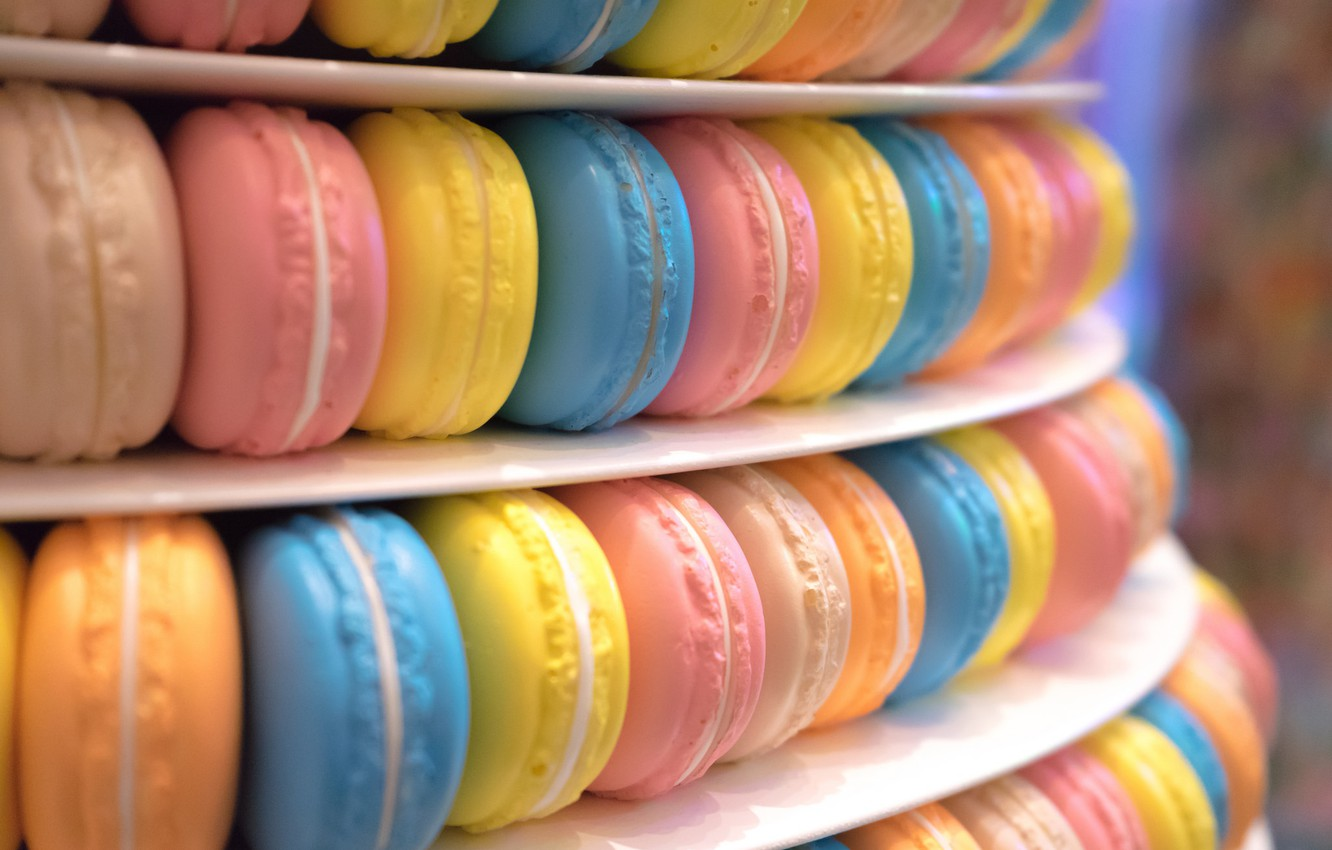 Photo wallpaper a lot, cakes, macaroon