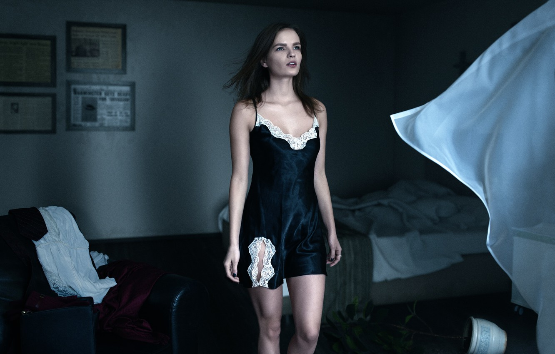 Photo wallpaper girl, room, the wind, window, blind, arrival, UFO