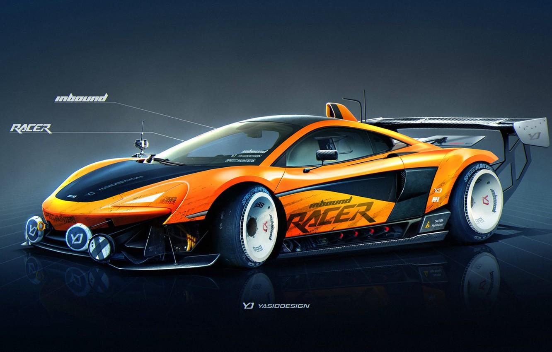 Photo wallpaper McLaren, Auto, Figure, Machine, Orange, Background, Car, Car, Art, Art, Sports, Rendering, Yasid Design, 570S, …