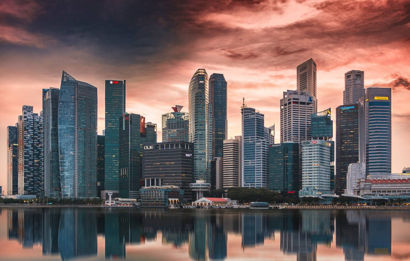 Photo wallpaper the city, the evening, Singapore, skyscrapers
