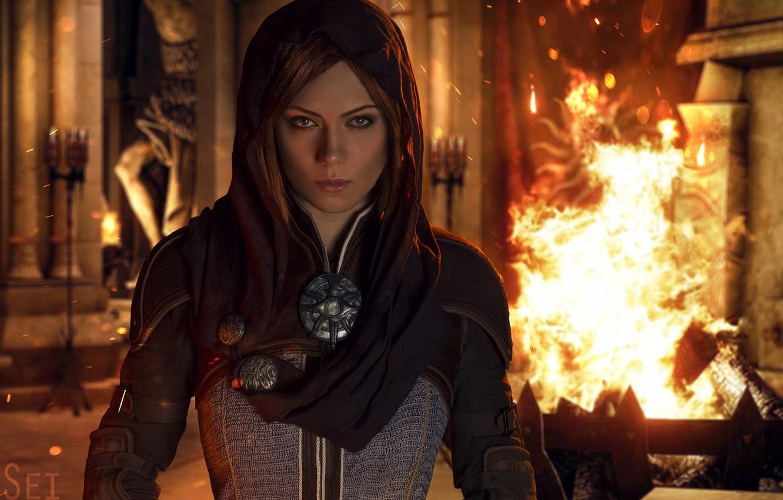 Photo wallpaper fire, flame, Dragon Age, spark, Dragon Age: Inquisition, Leliana