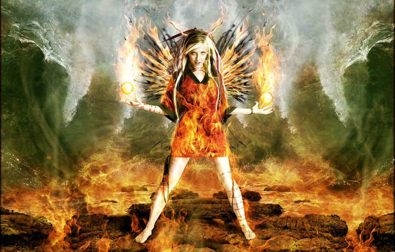 Photo wallpaper wave, girl, balls, fire, horns, Digital Art, brandrificus, the fiery angel, firestarter full scene
