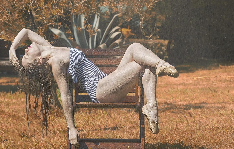 Photo wallpaper drops, rain, ballerina, the shower, Pointe shoes, ballerina project, Maurizio Parise