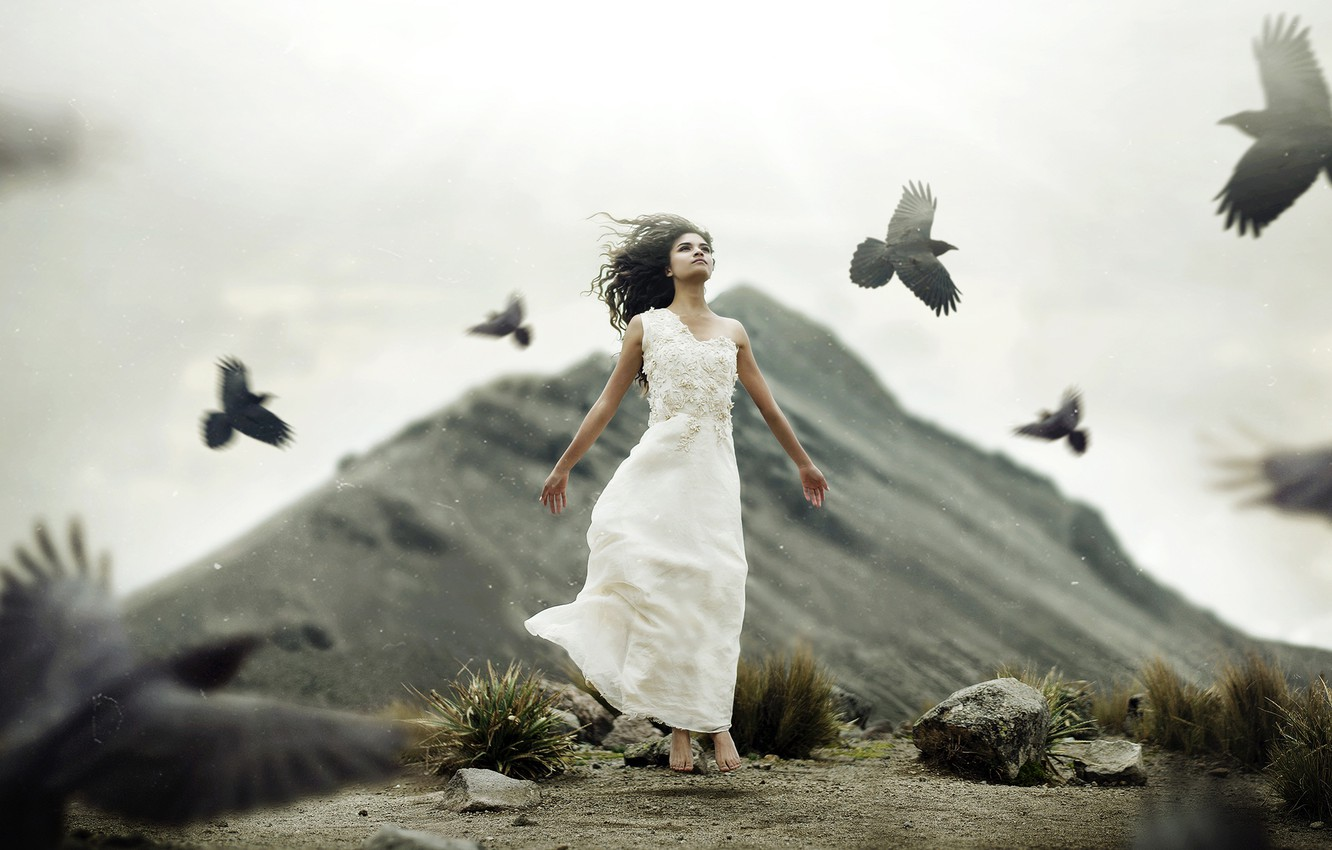 Photo wallpaper girl, birds, mood, the situation