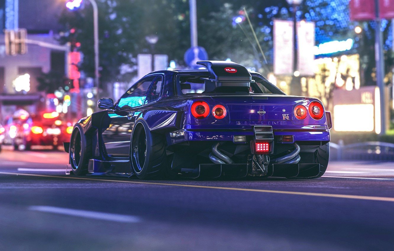 Photo wallpaper night, lights, street, Nissan, GT-R, Skyline, virtual tuning, Khyzyl Saleem