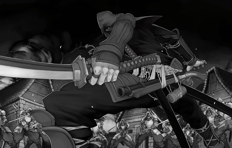 Photo wallpaper wallpaper, fire, battlefield, red, flame, sword, gun, blood, game, armor, smoke, weapon, war, anime, katana, …