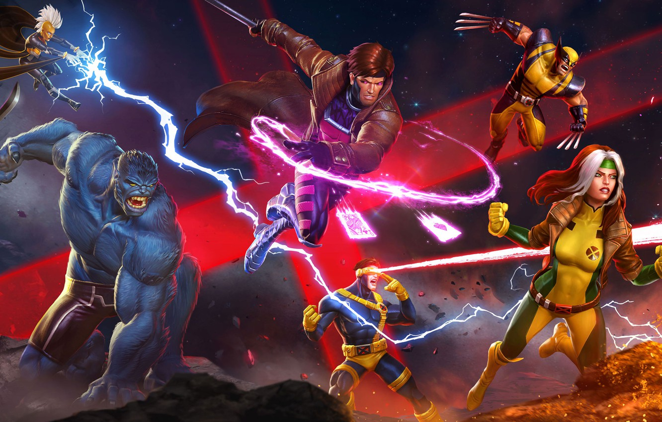 Photo wallpaper The game, Fire, Lightning, Card, Storm, Sword, Heroes, The storm, Wolverine, Logan, Heroes, Beast, Claws, …