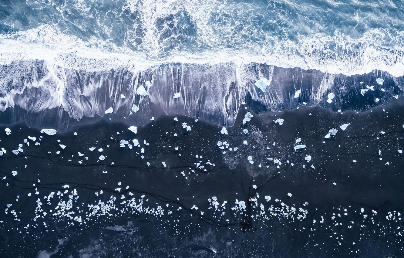 Photo wallpaper sea, beach, ice, Iceland, the view from the top